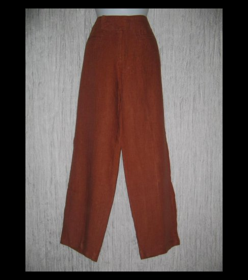 CHICO'S DESIGN Long Shapely Russet Linen Trousers Pants 2 M L