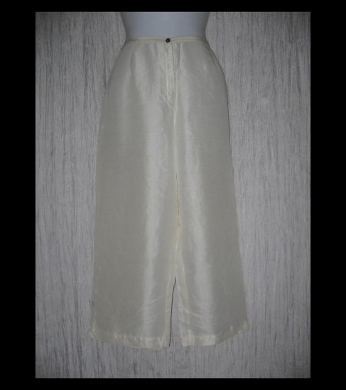KIKO Comfortable Clothing Elegant Creamy White Silk Capri Pants Medium M