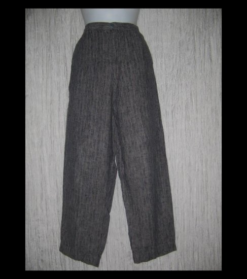 FLAX by Jeanne Engelhart Long & Lean Striped Linen Trousers Pants Small S
