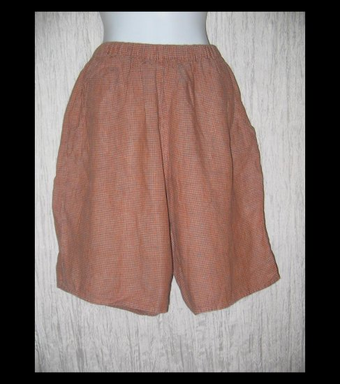 FLAX Orange Brown Check Linen Shorts Jeanne Engelhart Medium M