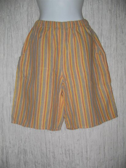 FLAX Orange Striped LINEN Shorts Jeanne Engelhart Small S