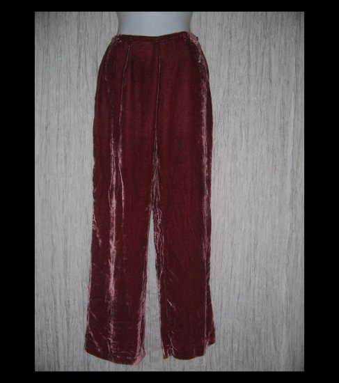 April Cornell Shapely Fuschia Silk Rayon Velvet Pants Small S