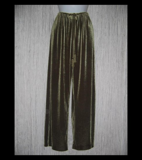 Soft Surroundings Long Wide Leg Olive Green Velour Drawstring Pants Medium M