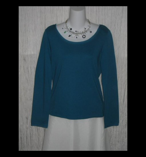 New J. JILL Teal Silk Trimmed Cotton Tunic Top Shirt Small S