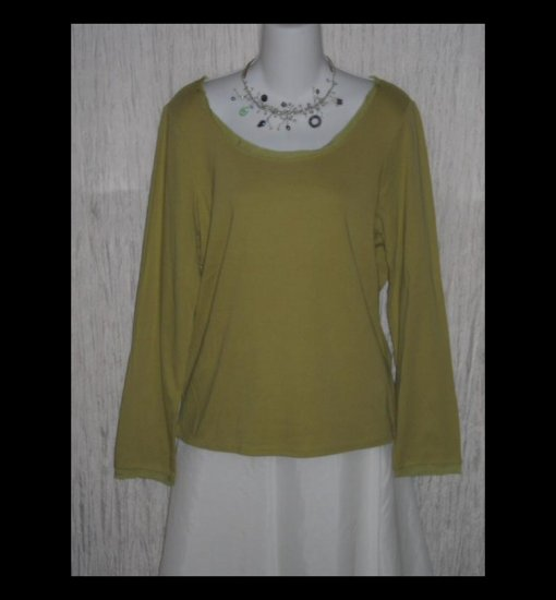New J. JILL Green Silk Trimmed Cotton Tunic Top Shirt Large L
