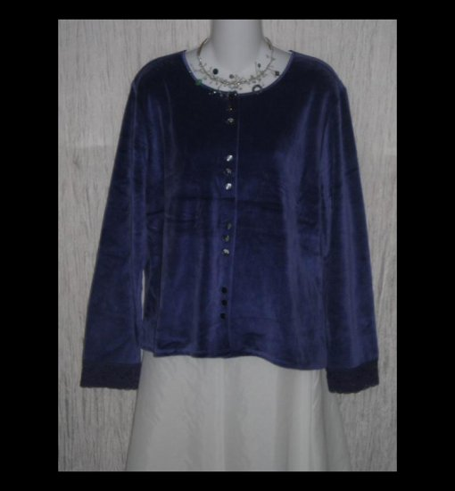 New J. Jill Soft Purple Velour Button Jacket Shirt Top X-Large XL