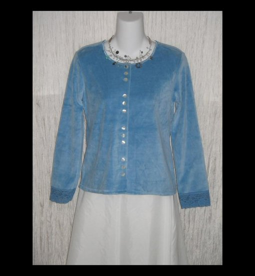 New J. Jill Soft Blue Velour Button Jacket Shirt Top Medium M