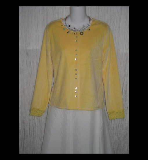 New J. Jill Soft Yellow Velour Button Jacket Shirt Top Small S