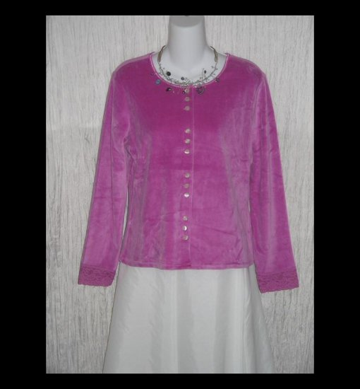 New J. Jill Soft Pink Velour Button Jacket Shirt Top Medium M