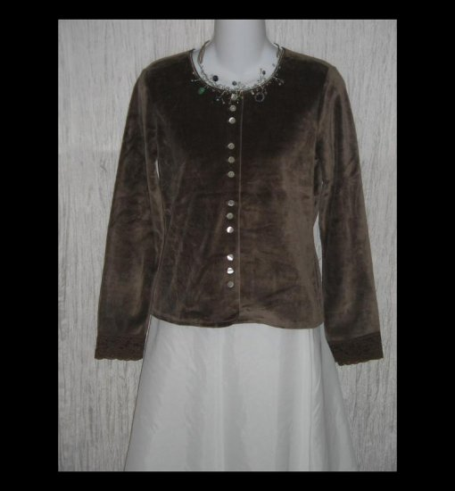 New J. Jill Soft Brown Velour Button Jacket Shirt Top XX-Small Petite XXSP