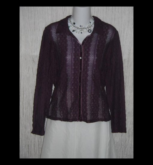 New J. Jill Purple Velvet Lace Knit Button Tunic Top Shirt Large Petite LP
