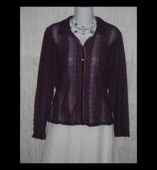 New J. Jill Purple Velvet Lace Knit Button Tunic Top Shirt Large Petite LP
