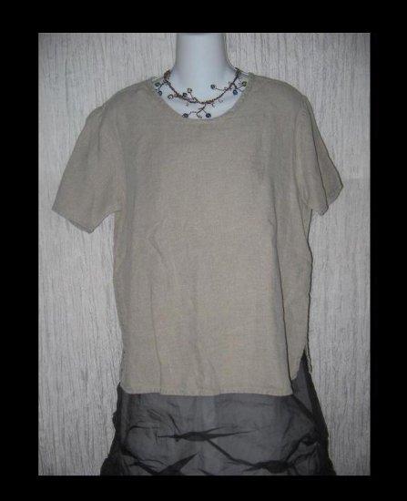 FLAX by Angelheart Jeanne Engelhart Linen Pullover Shirt Tunic Top Small S