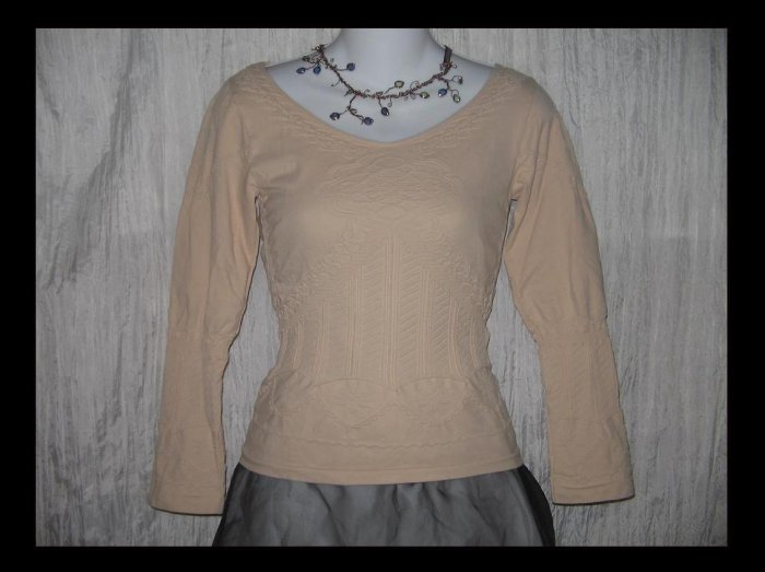 PATRIZIA LUCA Elegant Art To Wear Textured Knit Shapely Tunic Top Shirt M L