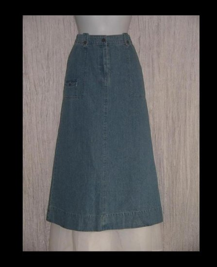 J. Jill Out of the Blue Cute Calf Length Denim Skirt 4 Petite 4P
