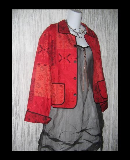 CHICO's Design Boxy Red Silk Patchwork Tunic Jacket Size 1 S M