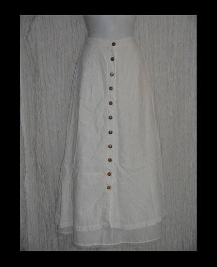 KIKO Comfortable Clothing Long & Full White Linen Button Skirt Medium M