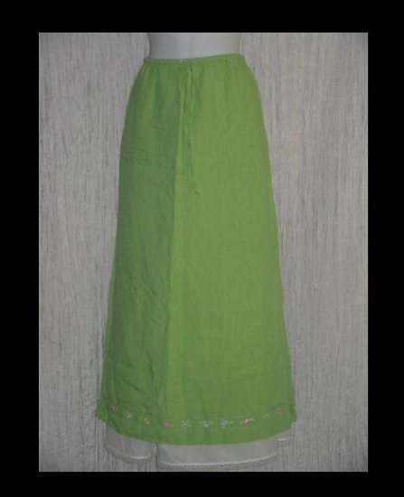 Portraits by Northern Isles Long & Full Fluttery Linen Drawstring Skirt Large L