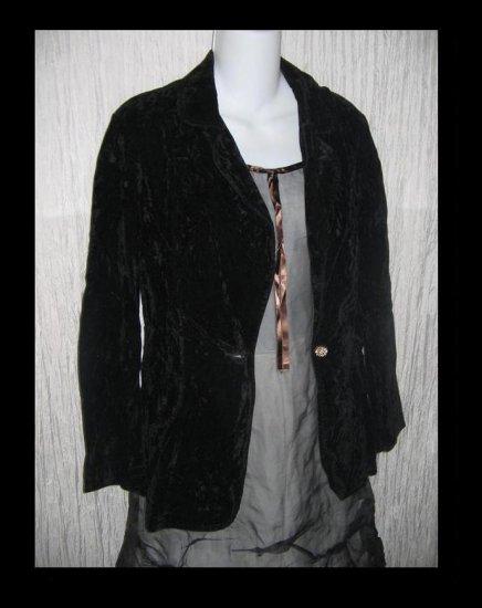 Vintage Shapely Black Velvet Button Jacket Blazer Small Medium S M
