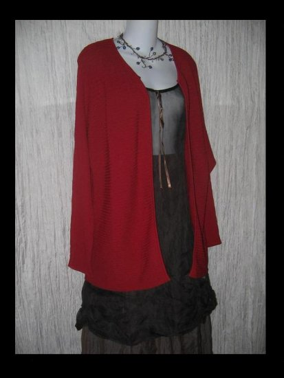 DUE per Due Collection Long Red Rayon Open Cardigan Tunic Sweater Large L