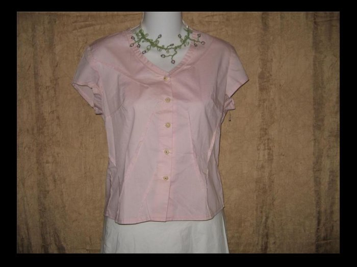 New NEESH by DAR Soft Pink Cotton Ruffle Shirt Top X-Small XS