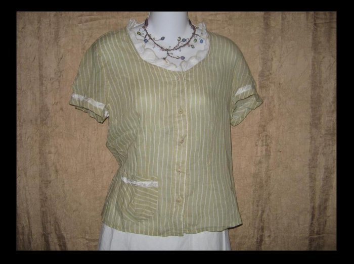 NEESH by DAR Soft Striped Cotton Ruffle Shirt Top Large L