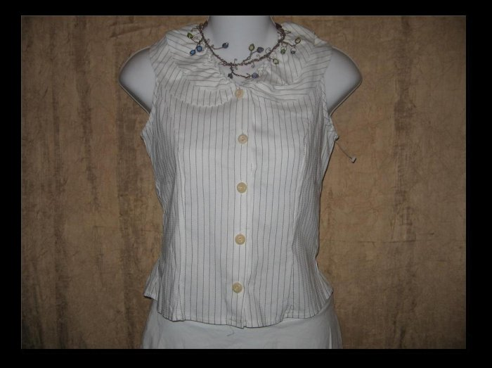 NEESH by D.A.R. Shapely Pin Striped Button Shirt Top X-Small XS