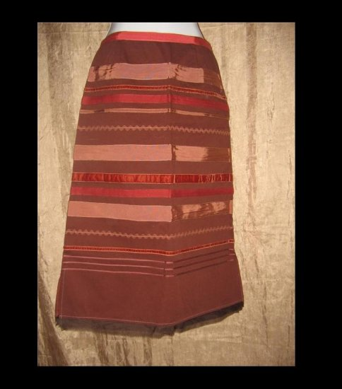 New Neesh by D.A.R. Brick Red Ribbon Skirt Small S