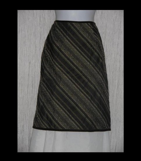 J. Jill Rich Striped Velvet Trim Shapely Knee Skirt Size 10