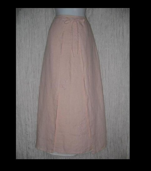 J. Jill Elegant Long Pink Embroidered Linen Front Wrap Skirt 8