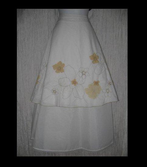 J. Jill Full & Fluttery Calf Length Creamy White Embroidered Flower Skirt 8P