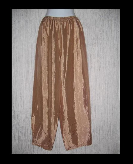 New JACKIE LOVES JOHN Bronze Silk Wide Leg Pants Boutique Size 1 Small Medium S Medium