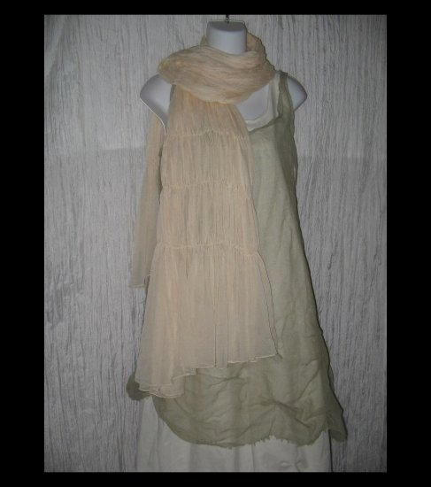 New Anne Klein Ethereal Cream Gathered Nylon Art to Wear Scarf