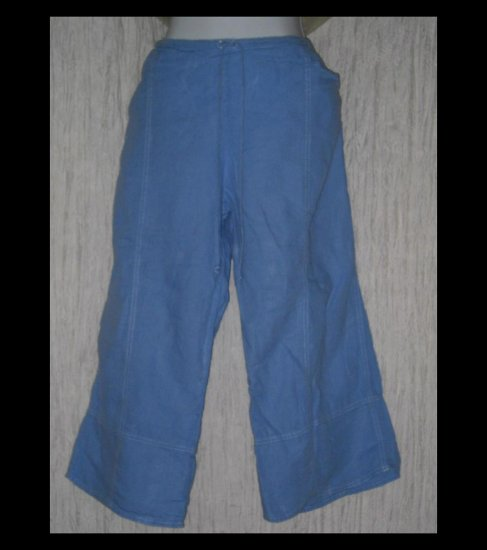 SOLITAIRE Blue Wide Leg Linen Drawstring Capris Pants Large L