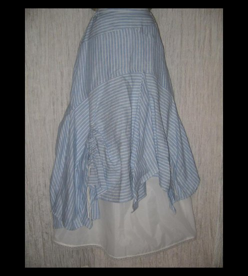 HANNA la journee Shapely Blue Striped Lagenlook Skirt 1 S M