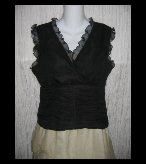 WD NY Black Layered Silk Sleeveless Ruffle Shirt Top Size 14