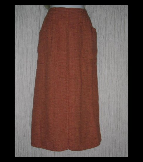 New FLAX Long Coral Tweed Linen Pocket Skirt Jeanne Engelhart Small S
