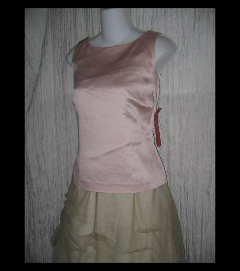 New BURNS Shapely Soft Makeup Pink Slinky Acetate Rayon Shell Tank Shirt 8