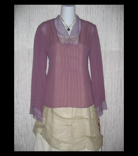 New Tapemeasure Ethereal Purple Silk Gathered Tunic Top Shirt 4
