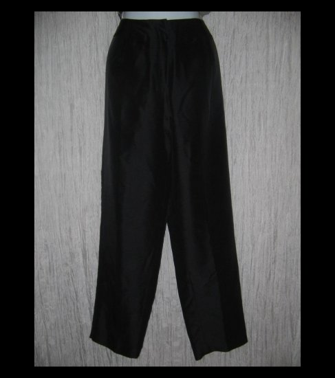 New Sunny Leigh Long Shapely Black Silk Trousers Pants 14