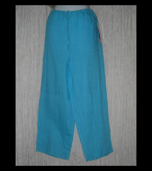 New Sunny Leigh Wide Leg Turquoise Linen Drawstring Pants Large L