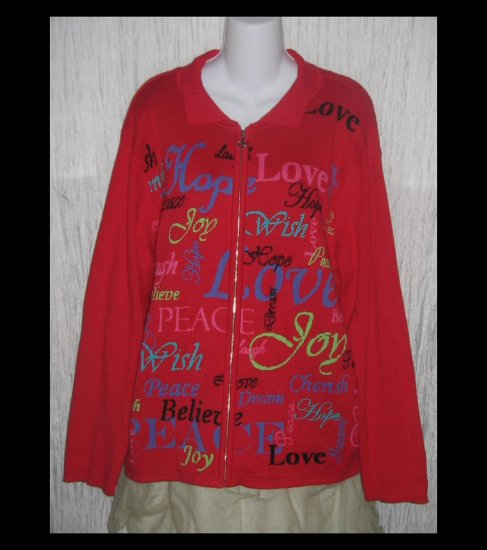 Coldwater Creek Red Zipped Affirmation Cardigan Sweater 2X