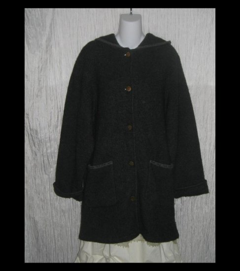HERMAN GEIST Long Gray Wool Hooded Cardigan Sweater Duster Coat Medium M