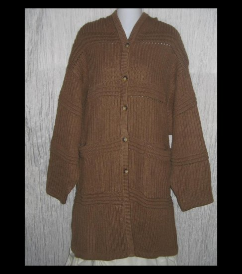 New NORTHERN STYLE Long Soft Brown Hooded Cardigan Sweater Duster X-Large XL