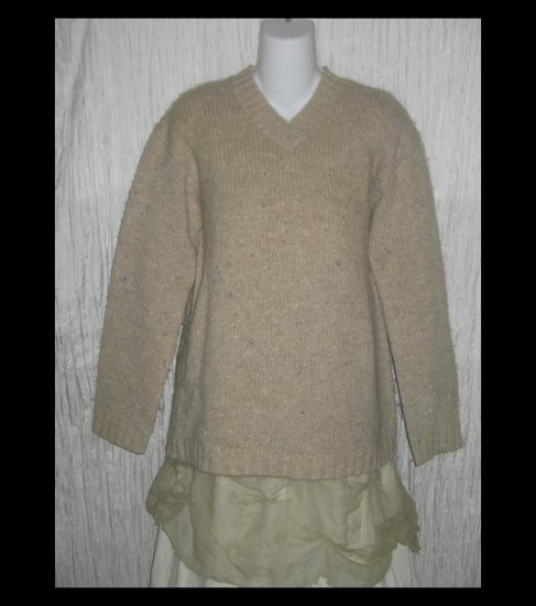 J.  Crew Beige Shetland Wool Pullover Sweater Top Medium M