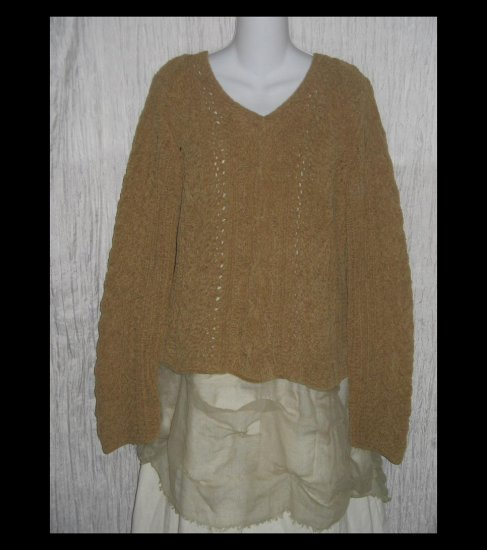 J.  Jill Soft Earthy Green Chenille Handknit Pullover Sweater Top Large L