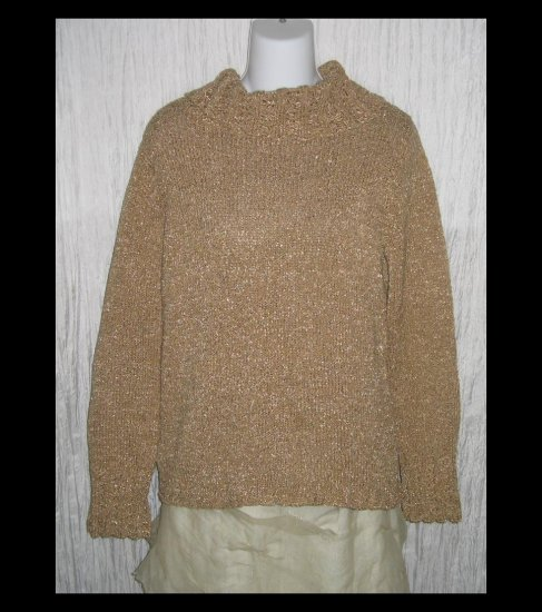 Susan Bristol Loose Artsy Knit Turtleneck Tunic Sweater Medium M