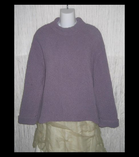 J. Jill Purple Nylon Nubby Knit Turtleneck Tunic Sweater Large L