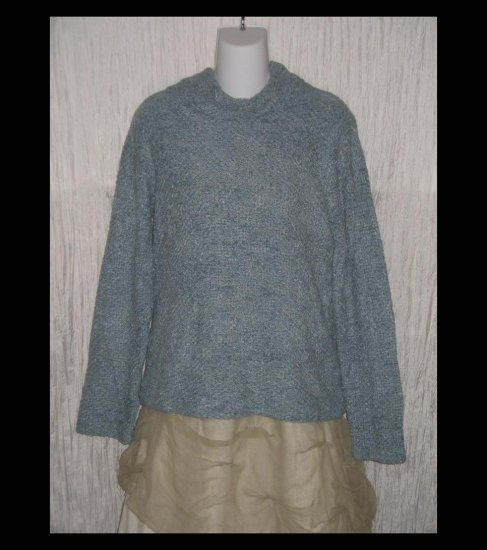 SIGRID OLSEN Soft Blue Artistic Feathery Chenille Turtleneck Tunic Sweater Medium M