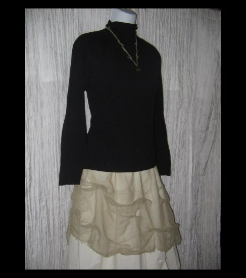 April Cornell Soft Black Knit Turtleneck Tunic Top Shirt Small Petite SP